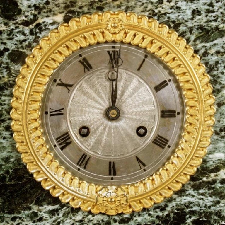 European French Empire Marble & Ormolu Clock, 19th Century For Sale