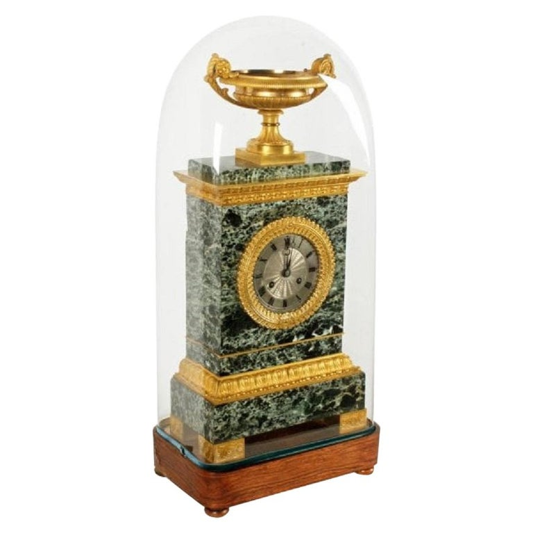 French Empire Marble & Ormolu Clock, 19th Century For Sale