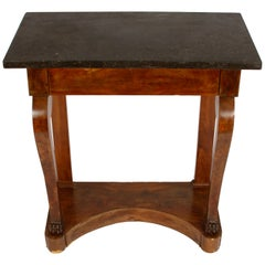 French Empire Marble Top Walnut Pier Table