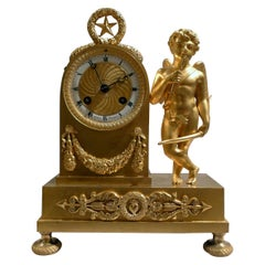 French Empire Miniature Ormolu Clock of Cupid Signed by Ledure and Thomas