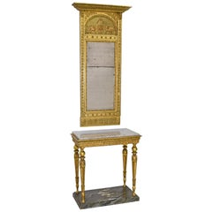 French Empire Mirror & Swedish Gustavian Console in Giltwood