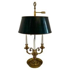French Empire Neoclassical Bronze Three Candelabras Bouillotte Lamp Tole Shade