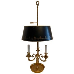 French Empire Neoclassical Bronze Three Candelabras Bouillotte Lamp Tole Shade
