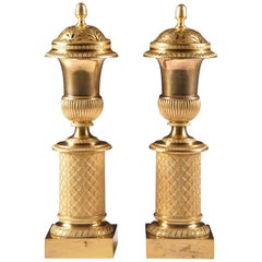 French Empire Neoclassical Gilt Bronze Cassolettes for Russian Market, 1810