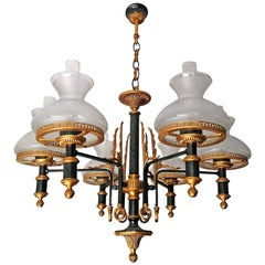French Empire Neoclassical Patinated & Gilt Bronze Oil Lamp Chandelier-Pair AVBL