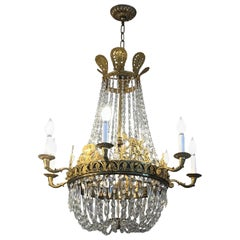 French Empire Ormolu and Crystal 7-Arm Chandelier, 19th Century