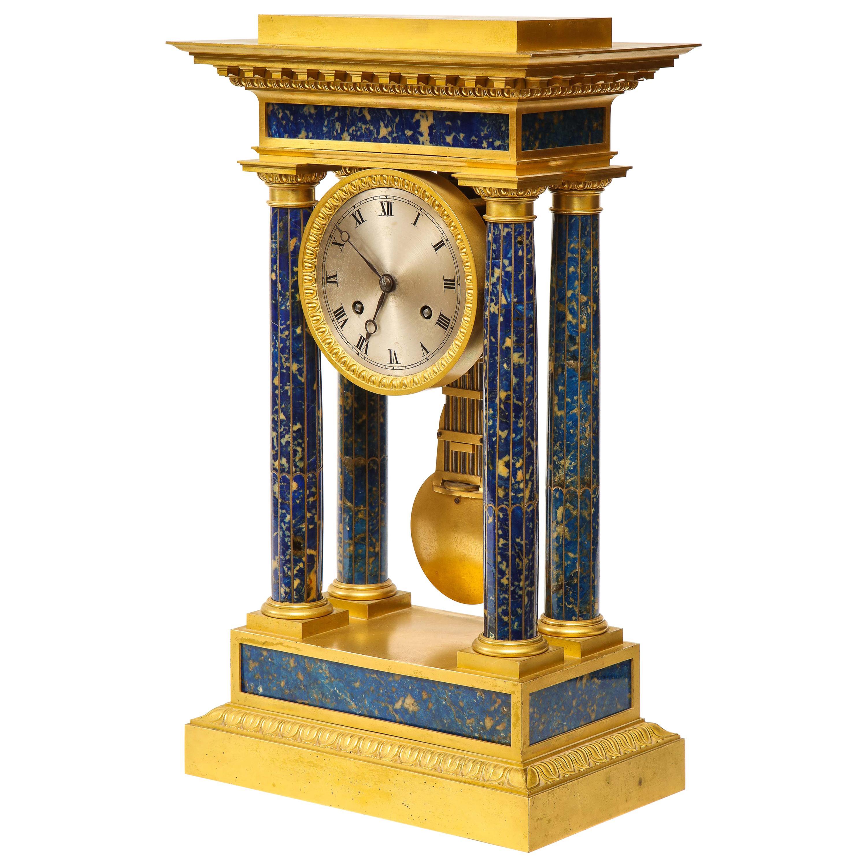 French Empire Ormolu and Lapis Lazuli Mantle Clock, circa 1860
