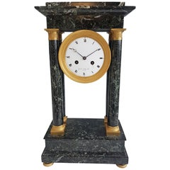French Empire Ormolu and Marble Portico Clock Signed Gaston Jolly
