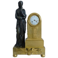French Empire Ormolu and Patinated Bronze Mantel Clock Signed Vaillaint a Paris
