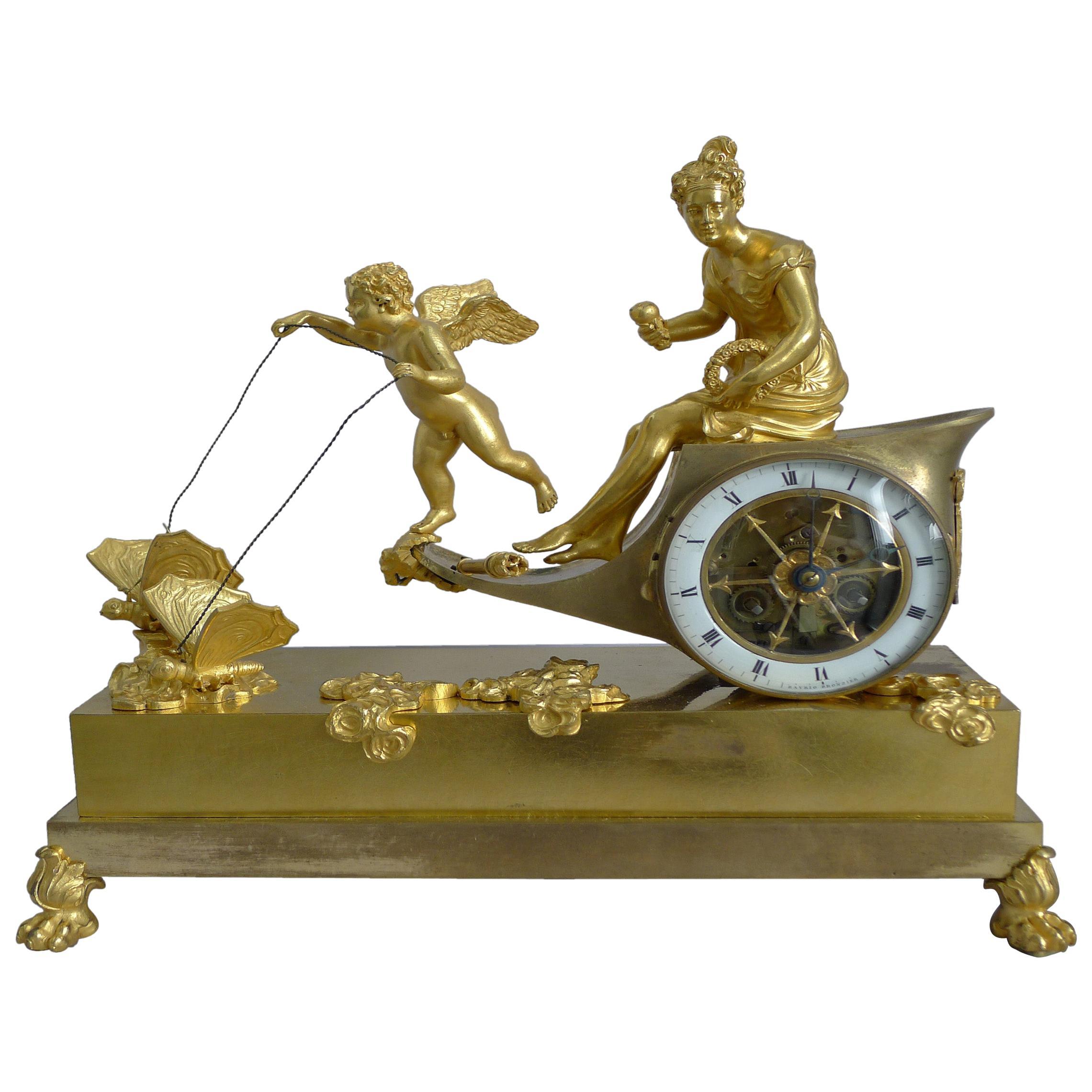 French Empire Ormolu Chariot Clock Signed Ravrio