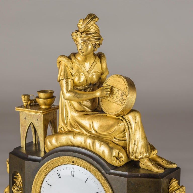 French Empire Ormolu Figural Mantel Clock In Good Condition For Sale In New York, NY