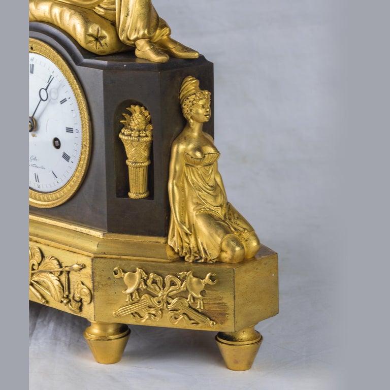 19th Century French Empire Ormolu Figural Mantel Clock For Sale