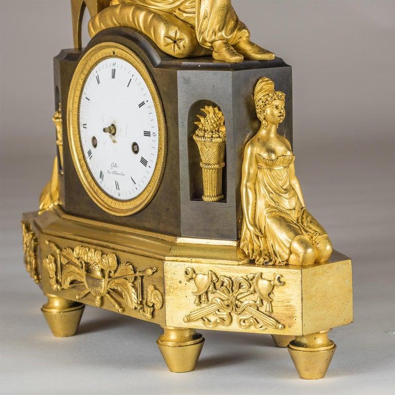 Bronze French Empire Ormolu Figural Mantel Clock For Sale