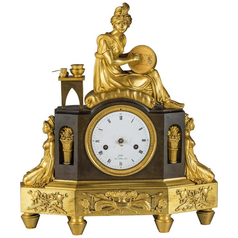 French Empire Ormolu Figural Mantel Clock For Sale