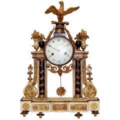 French Empire Ormolu Mantel Clock by Deverberie a Paris, Fire-Gilded