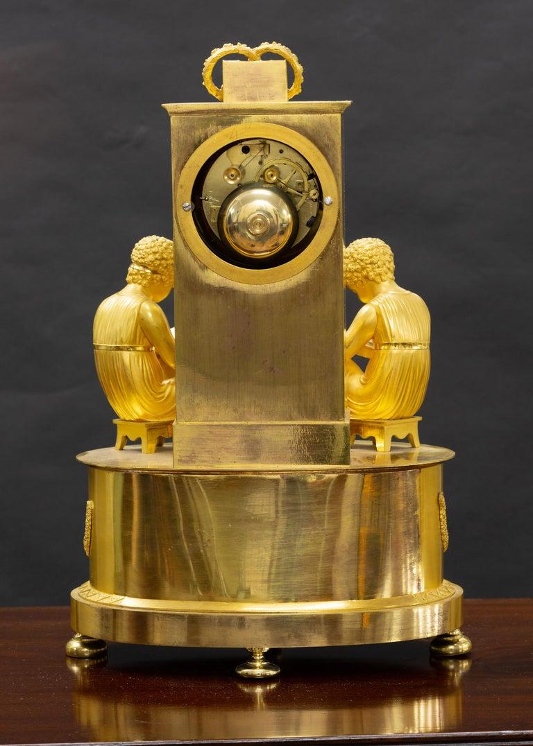 French Empire Ormolu Mantel Clock In Good Condition For Sale In Norwich, GB