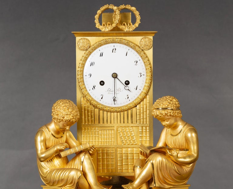 Early 19th Century French Empire Ormolu Mantel Clock For Sale