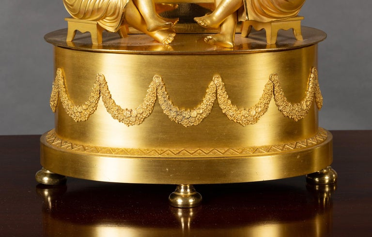 Enamel French Empire Ormolu Mantel Clock For Sale