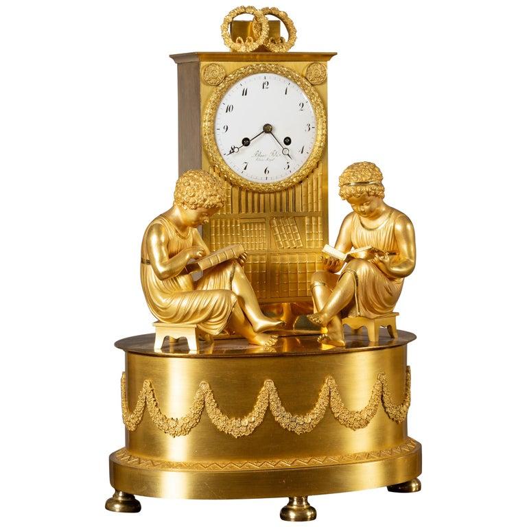 French Empire Ormolu Mantel Clock For Sale
