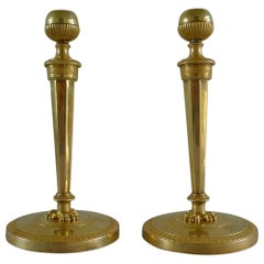 French Empire Pair of Ormolu Candlesticks with Original Handcut Threads