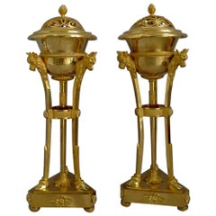 French Empire Pair of Ormolu Cassolettes