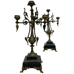 French Empire Pair Sophisticated Candelabra Bronze on Belgium Black Marble 1800s