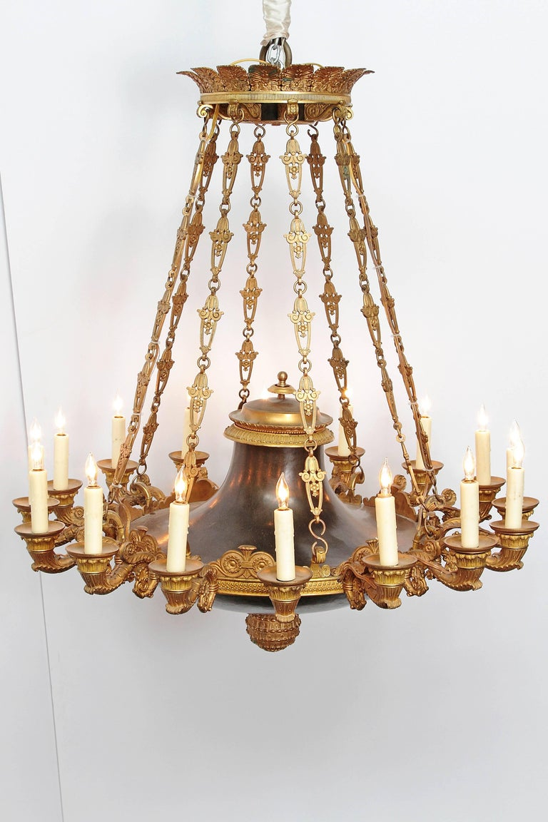 French Empire Patinated and Gilt Bronze Argon Chandelier / 16 Lights For Sale 7