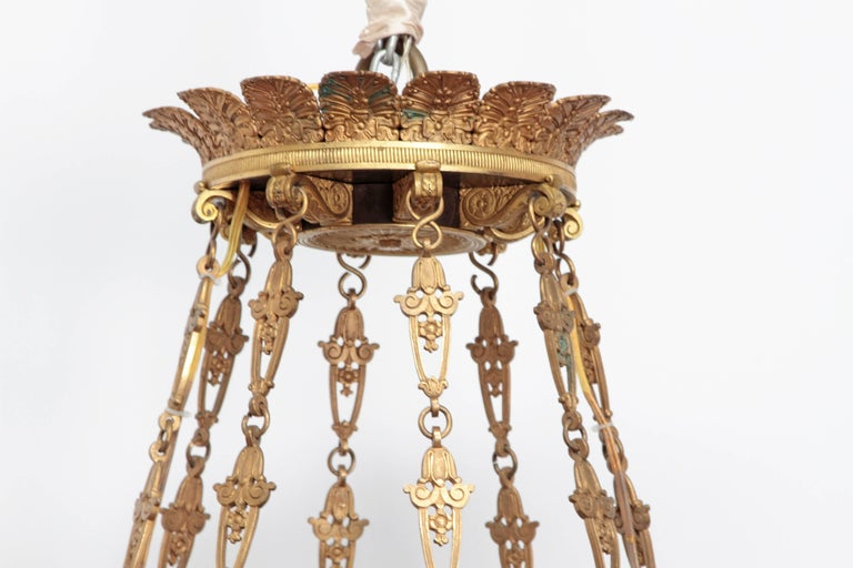French Empire Patinated and Gilt Bronze Argon Chandelier / 16 Lights In Good Condition For Sale In Dallas, TX
