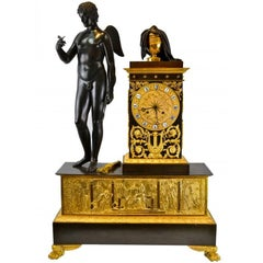 French Empire Patinated Gilt Bronze Cupid and Eurydice Clock