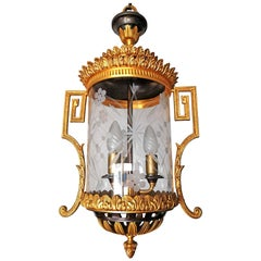 French Empire Patinated and Gilt Bronze Cut Glass 3-Light Lantern Chandelier