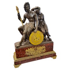 French Empire period Bronze with Dore and Red Languedoc Marble Clock Exceptional