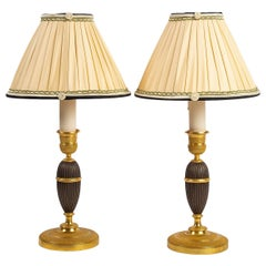 French Empire Period, Converted in Table Lamps Pair of Small Bronze Candlesticks