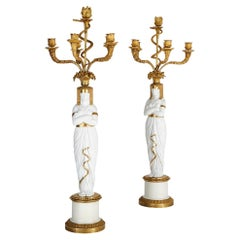 French Empire Period Egyptian Style Porcelain Candelabra