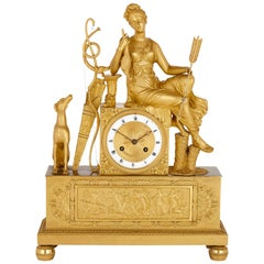 French Empire Period Gilt Bronze Mantel Clock