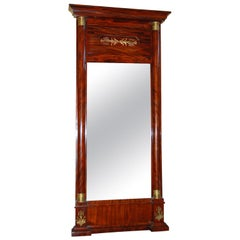 French Empire Period Mahogany Tall Mirror with Ormolu Mounts and Side Columns