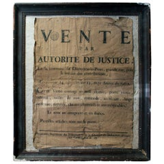 French Empire Period Napoleonic Notice of a Parisian House Clearance, circa 1805