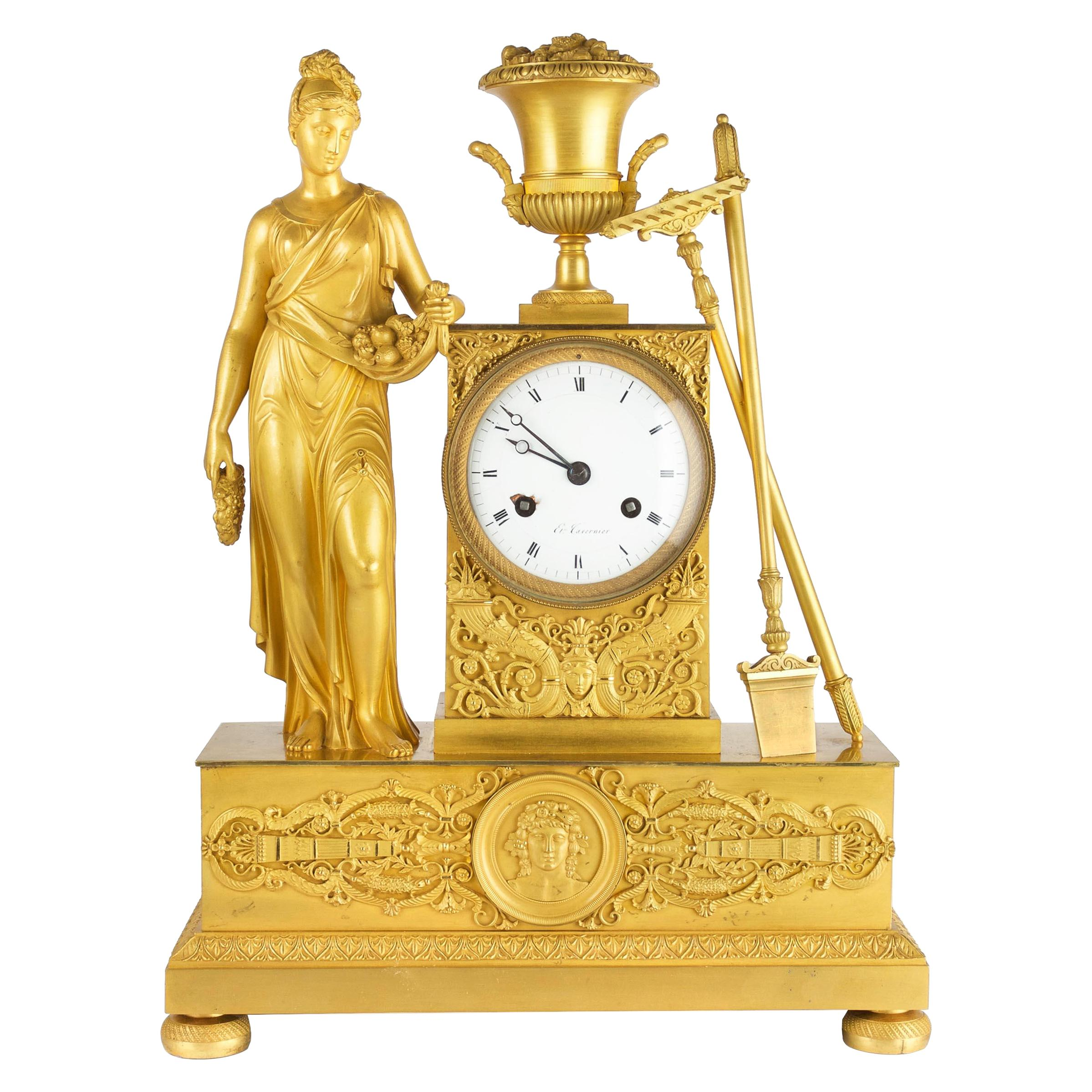 French Empire Period Ormolu Bronze Mantel Clock of Ceres, circa 1815