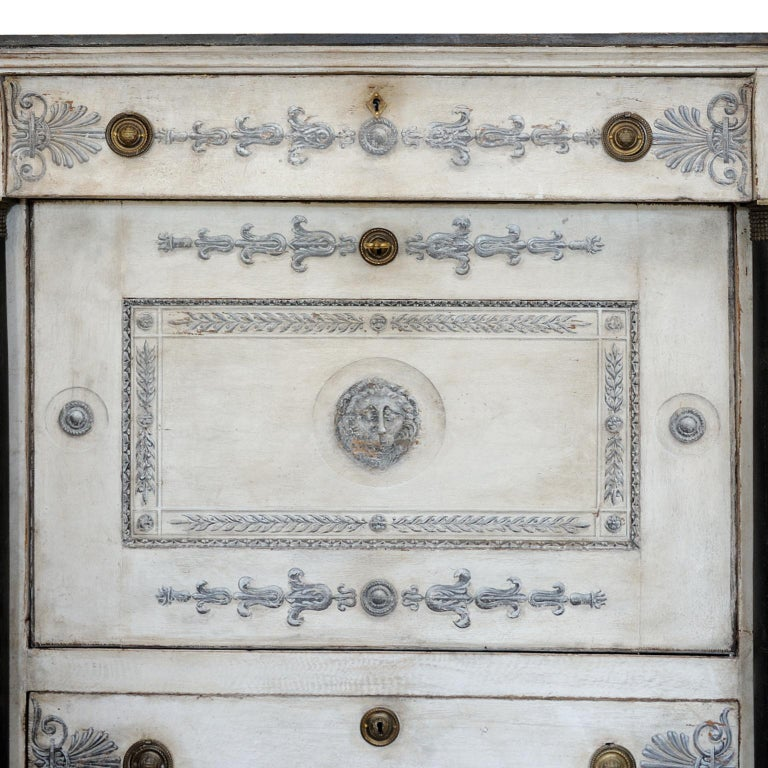 Early 19th Century French Empire Period Painted Oak Secretaire Cabinet, circa 1820 For Sale
