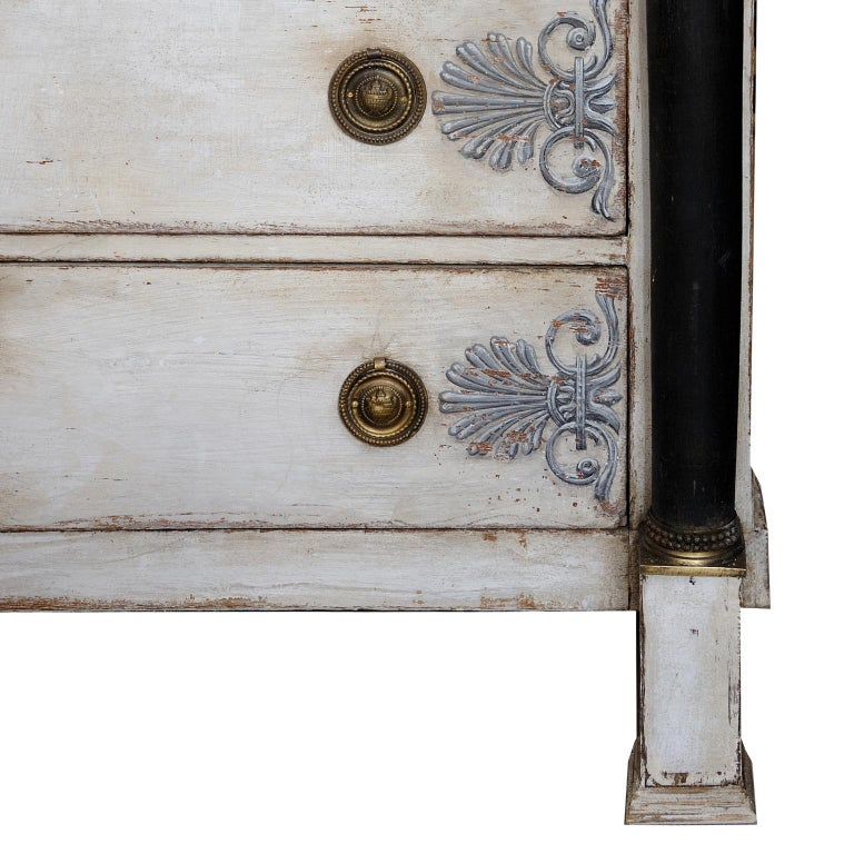 Brass French Empire Period Painted Oak Secretaire Cabinet, circa 1820 For Sale
