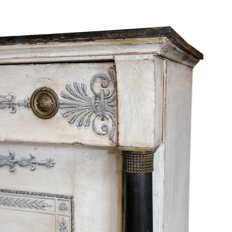 French Empire Period Painted Oak Secretaire Cabinet, circa 1820 For Sale 1