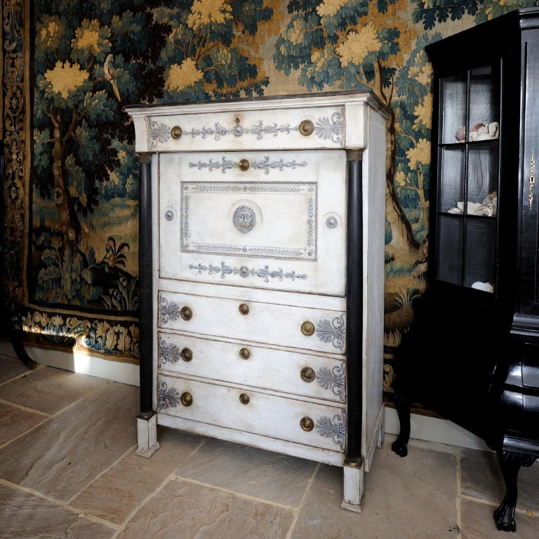 French Empire Period Painted Oak Secretaire Cabinet, circa 1820 For Sale 2