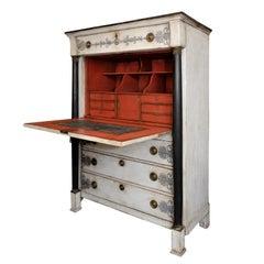 French Empire Period Painted Oak Secretaire Cabinet, circa 1820