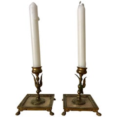 French Empire Period Pair of Bronze Candleholders, Neoclassical