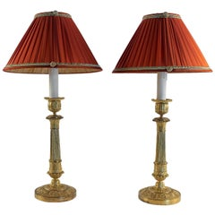French Empire Period, Pair of Gilt Bronze Candlestick-Lamps, circa 1810
