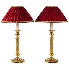 French Empire Period, Pair of Ormolu Candlesticks Converted in Table Lamps