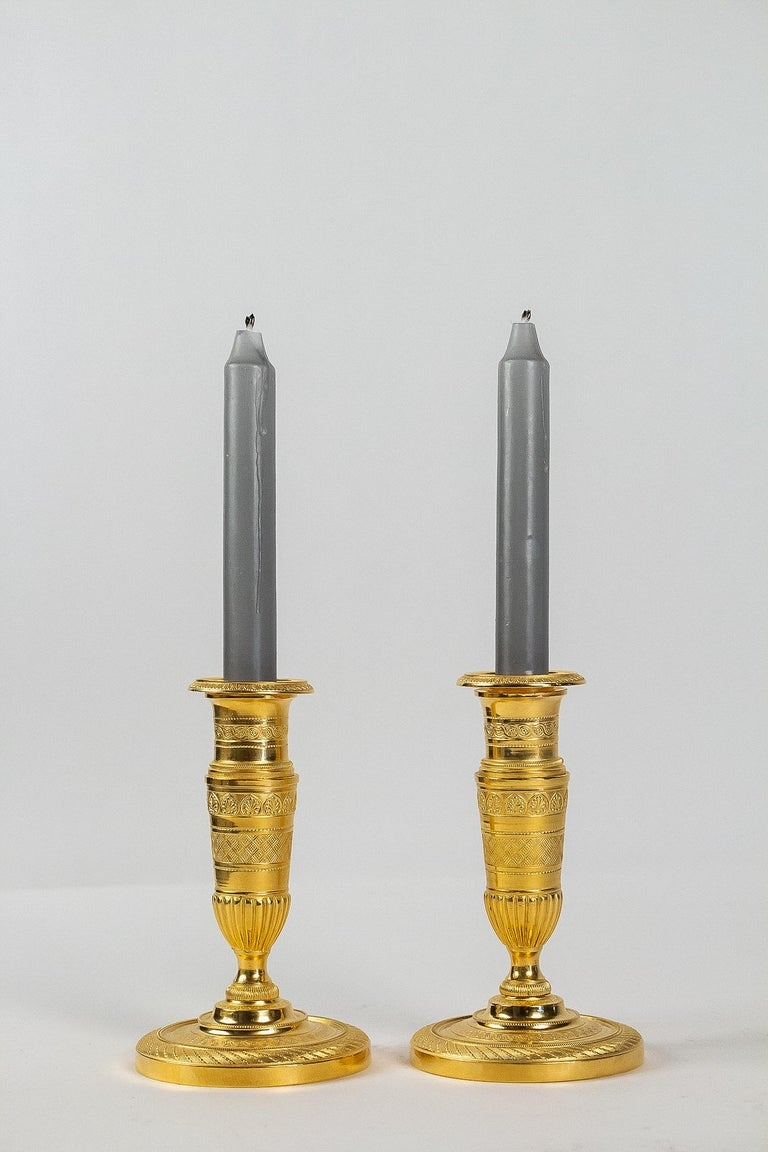 French Empire Period, Pair of Small Gilt-Bronze Candlesticks, circa 1805 For Sale 6