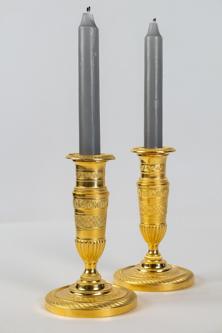 French Empire Period, Pair of Small Gilt-Bronze Candlesticks, circa 1805 For Sale 5