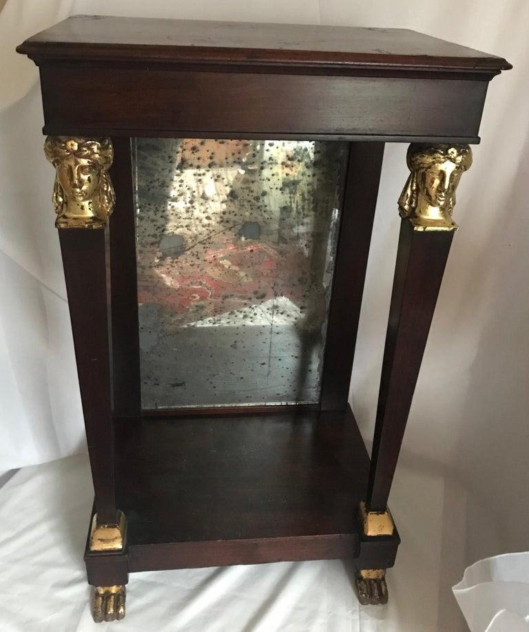 French Empire Period Petite Mahogany Console with Mirror, circa 1810 In Good Condition For Sale In Vero Beach, FL