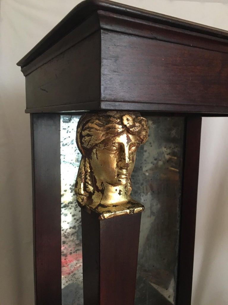 19th Century French Empire Period Petite Mahogany Console with Mirror, circa 1810 For Sale