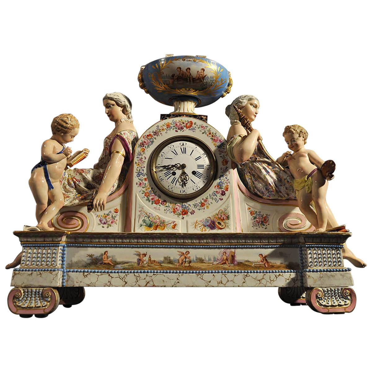 French Empire Porcelain Mantle Clock, 19th Century